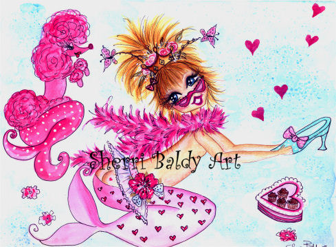 Pink POODLE MERMAID EVERY GIRL LOVES  SHOES Print-