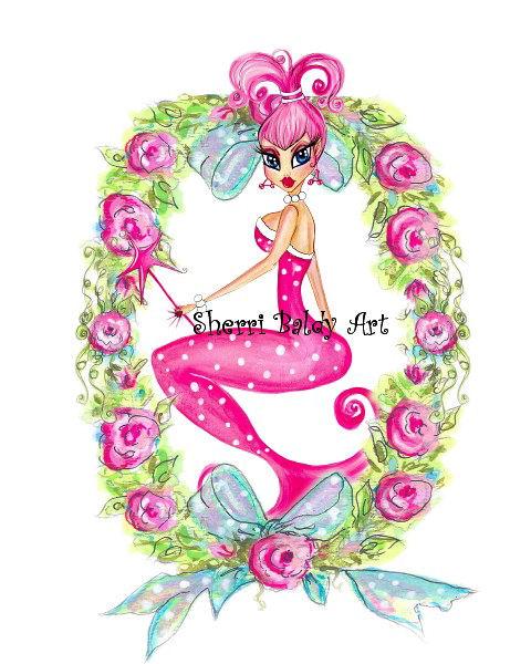 A Pink Mermaid Print-