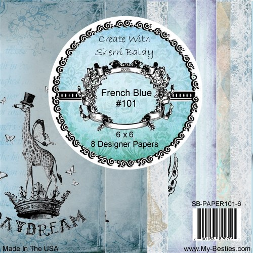 "Create With Sherri Baldy Designer Papers 8 Pack ""French Blue"" 6x6-"