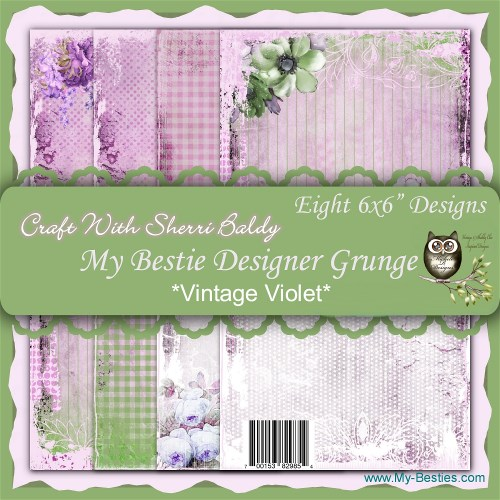 "Create With Sherri Baldy Designer Papers this is an 8 Pack ""Vintage Violet"" 6x6-"