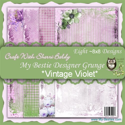 "Create With Sherri Baldy Designer Papers this is an 8 Pack ""Vintage Violet"" 8 x8-"