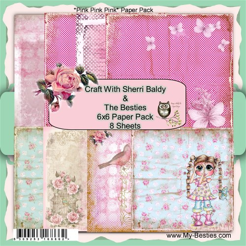 "Create With Sherri Baldy Designer Papers this is an 8 Pack ""Pink Pink Pink"" 6x6-"