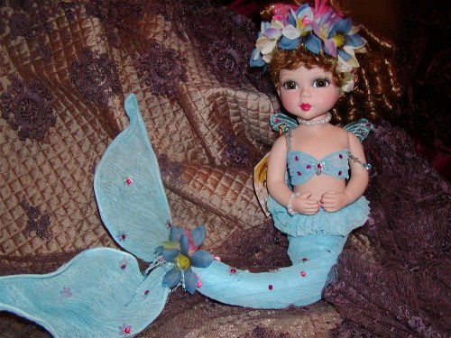 Baby Blue Susie Sea Horse Porcelain Doll-