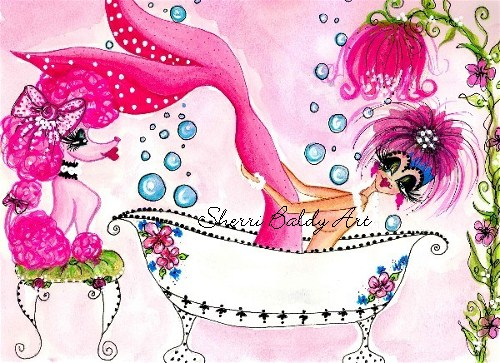 My-Besties Pink Poodle Bubble Bath Mermaid Fine Art Print-