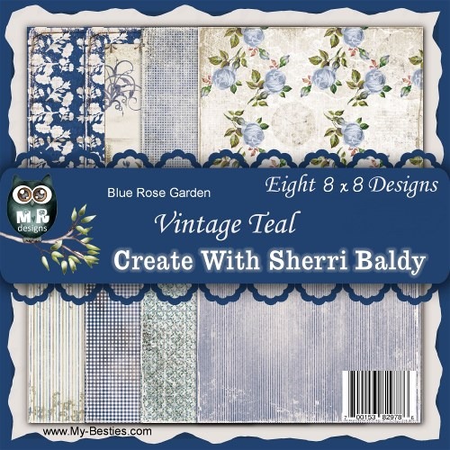 "Create With Sherri Baldy Designer Papers  8 Pack ""Blue Rose Garden Vintage Teal 8x8-8 x 8 Designer Papers, Sherri Baldy, my besties"