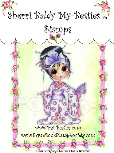 Clear Rubber Stamps Cherry Blossom-Sherri Baldy, my besties, digi stamps, rubber stamps, big eyed, dolls, Messy Bessy,