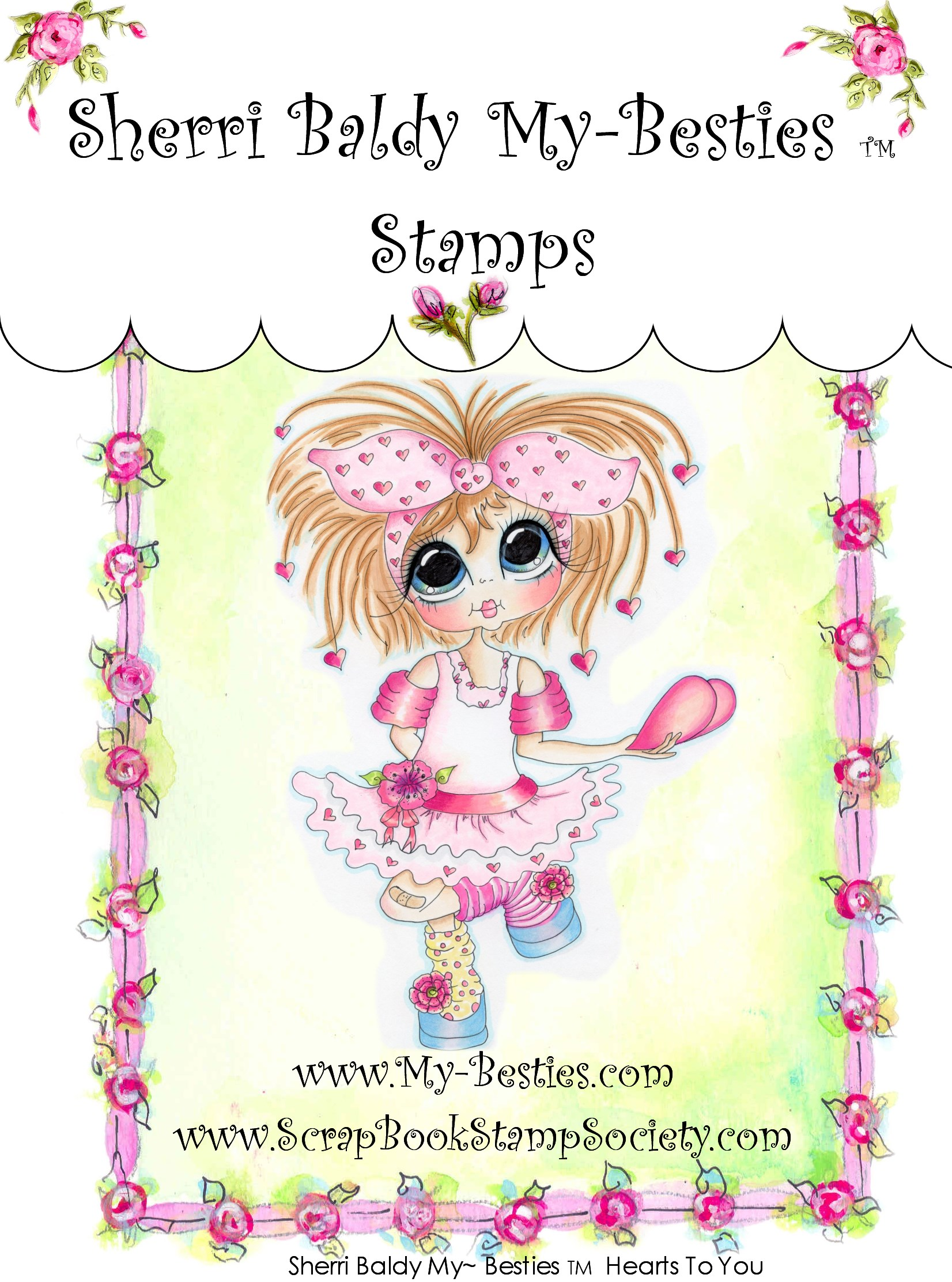 Clear Rubber Stamp Hearts to you-Sherri Baldy, my besties, digi stamps, rubber stamps, big eyed, dolls, Messy Bessy,
