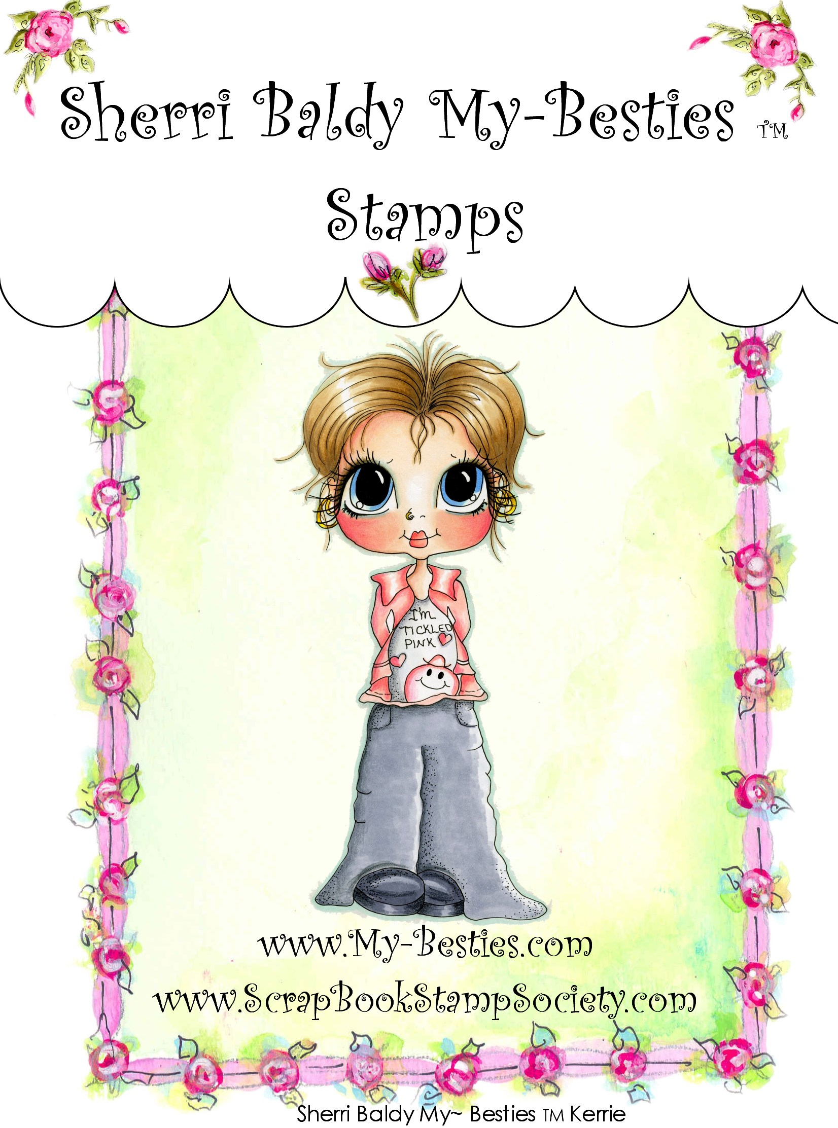 Clear Rubber Stamp Kerrie-Sherri Baldy, my besties, digi stamps, rubber stamps, big eyed, dolls, Messy Bessy,