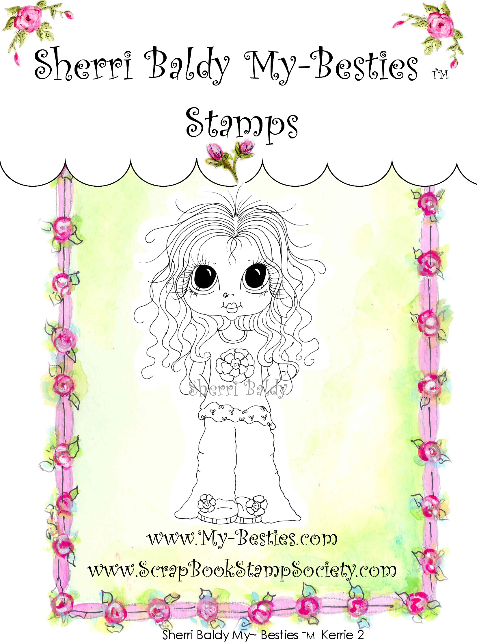 Clear Rubber Stamp  Kerrie 2-Sherri Baldy, my besties, digi stamps, rubber stamps, big eyed, dolls, Messy Bessy,