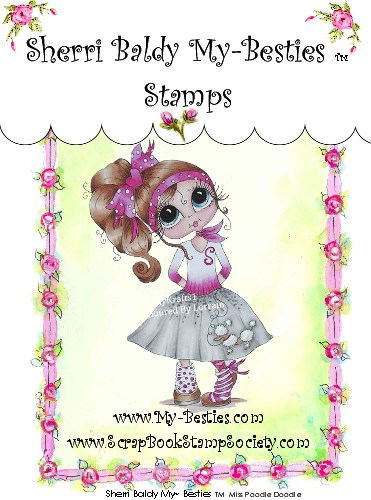 Clear Rubber Stamps Miss Poodle Doodle My-Besties-Sherri Baldy, my besties, digi stamps rubber stamps, crafts, scrapbooking , big eyed , big head, dolls