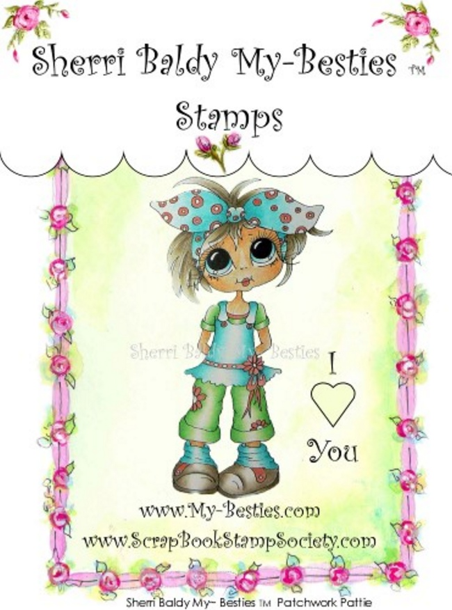 Clear Stamps Patchwork Pattie My-Besties Stamp-Sherri Baldy, my besties, digi stamps, rubber stamps, big eyed, dolls, Messy Bessy,