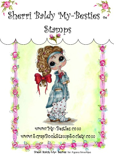 Clear Rubber Stamp  Pajamia Time Pipa My-Bestie-Sherri Baldy, my besties, digi stamps, rubber stamps, big eyed, dolls, Messy Bessy,