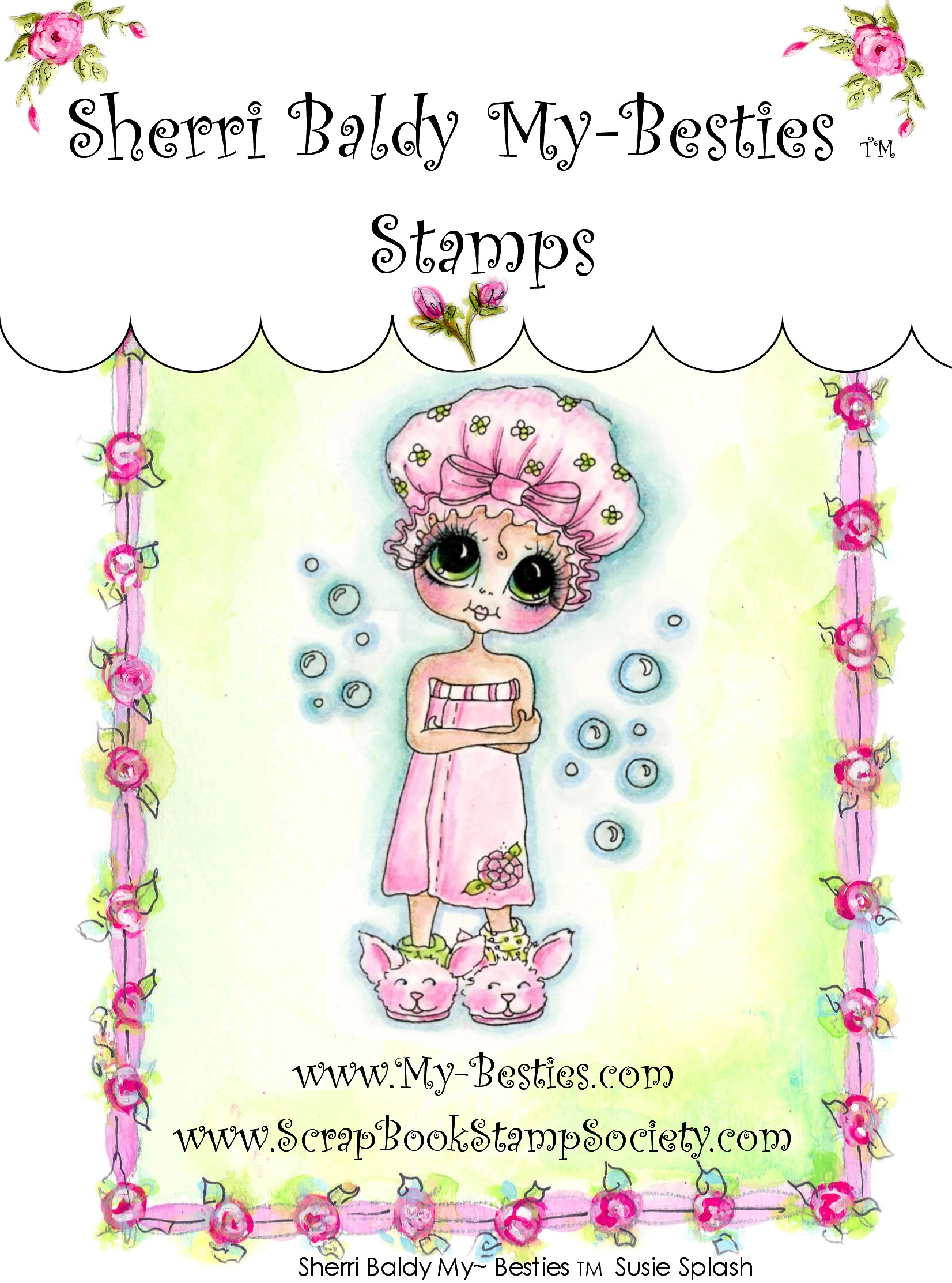 Clear Rubber Stamp SusieSplash-Sherri Baldy, my besties, digi stamps, rubber stamps, big eyed, dolls, Messy Bessy,