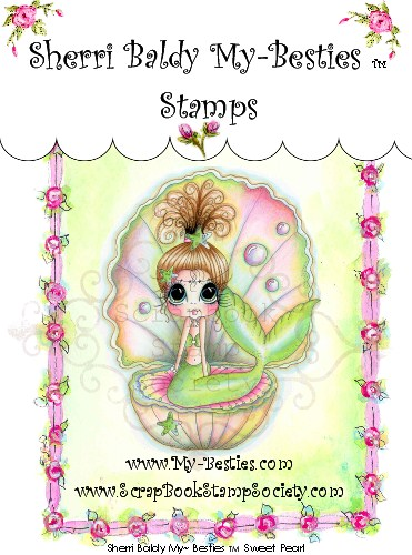 Clear Rubber Stamp Sweet Pearl My-Besties-Sherri Baldy, my besties, digi stamps, rubber stamps, big eyed, dolls, Messy Bessy,