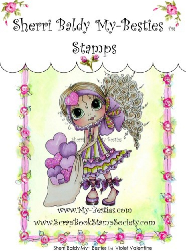 Clear Rubber Stamp Violet Valentine-Sherri Baldy, my besties, digi stamps, rubber stamps, big eyed, dolls, Messy Bessy,