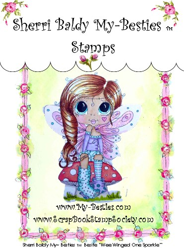 Clear Rubber Stamp Wee Winged One Sparkle-Sherri Baldy, my besties, digi stamps, rubber stamps, big eyed, dolls, Messy Bessy,