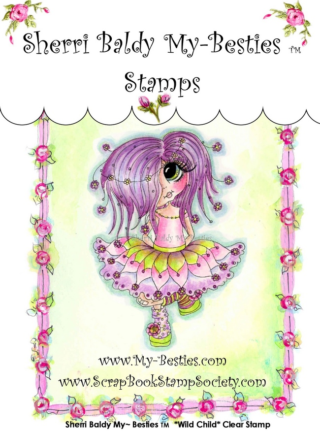 Clear Rubber Stamp Wild Child-Sherri Baldy, my besties, digi stamps, rubber stamps, big eyed, dolls, Messy Bessy,