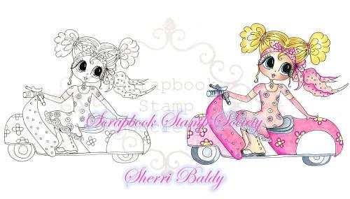 My-Besties Digi Stamps Pink Caddie Maggie-My Besties, digi stamp, big eye dolls