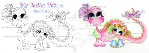 My-Besties digi stamp Tiny and her Supersaurus-My Besties, digi stamps, dinosaur, dragon
