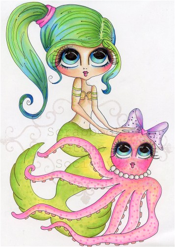 Mary and Cuddles Fine Art Print-Mermaid, My Besties