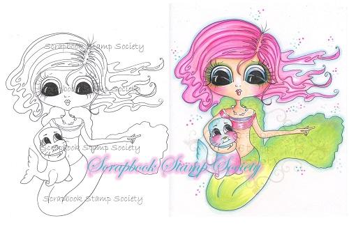 My Bestie digi stamp Penelope and Pug-My Besties, digi stamps, mermaid