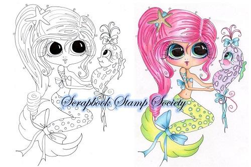 My-Besties digi stamp Pinky and Lavendar-my besties, digi stamps, mermaid