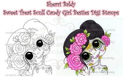 My Bestie digi stamp skull candy girl 1-my besties, digi stamps