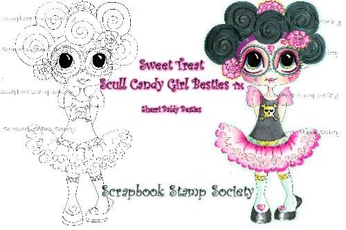 My-Besties digi stamp Sweet Treat Skull Candy Girl-My Besties, digi stamps, Halloween